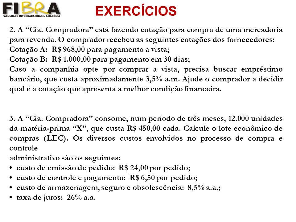 EXERCÍCIOS 2.A Cia. Compradora está fazendo cotação para compra de uma mercadoria para revenda.