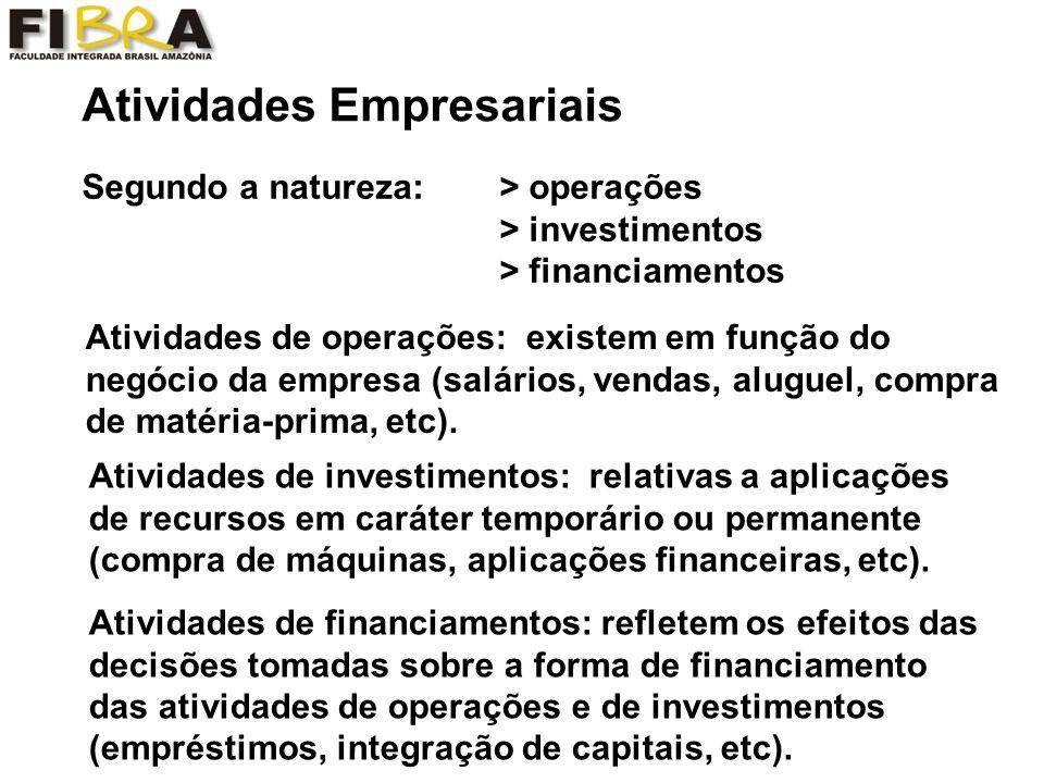 Atividades Empresariais Atividades de investimentos: relativas a aplicações de recursos em caráter temporário ou permanente (compra de máquinas, aplicações financeiras, etc).