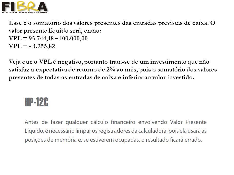 Esse é o somatório dos valores presentes das entradas previstas de caixa.