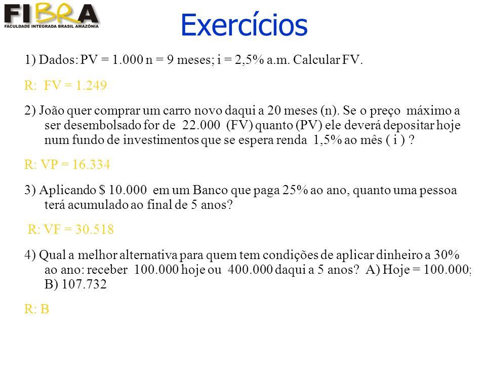 Exercícios 1) Dados: PV = 1.000 n = 9 meses; i = 2,5% a.m.