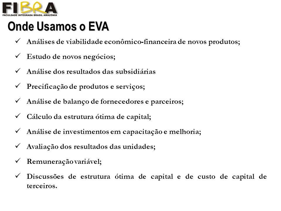 Onde Usamos o EVA Análises de viabilidade econômico-financeira de novos produtos; Estudo de novos negócios; Análise dos resultados das subsidiárias Precificação de produtos e serviços; Análise de balanço de fornecedores e parceiros; Cálculo da estrutura ótima de capital; Análise de investimentos em capacitação e melhoria; Avaliação dos resultados das unidades; Remuneração variável; Discussões de estrutura ótima de capital e de custo de capital de terceiros.
