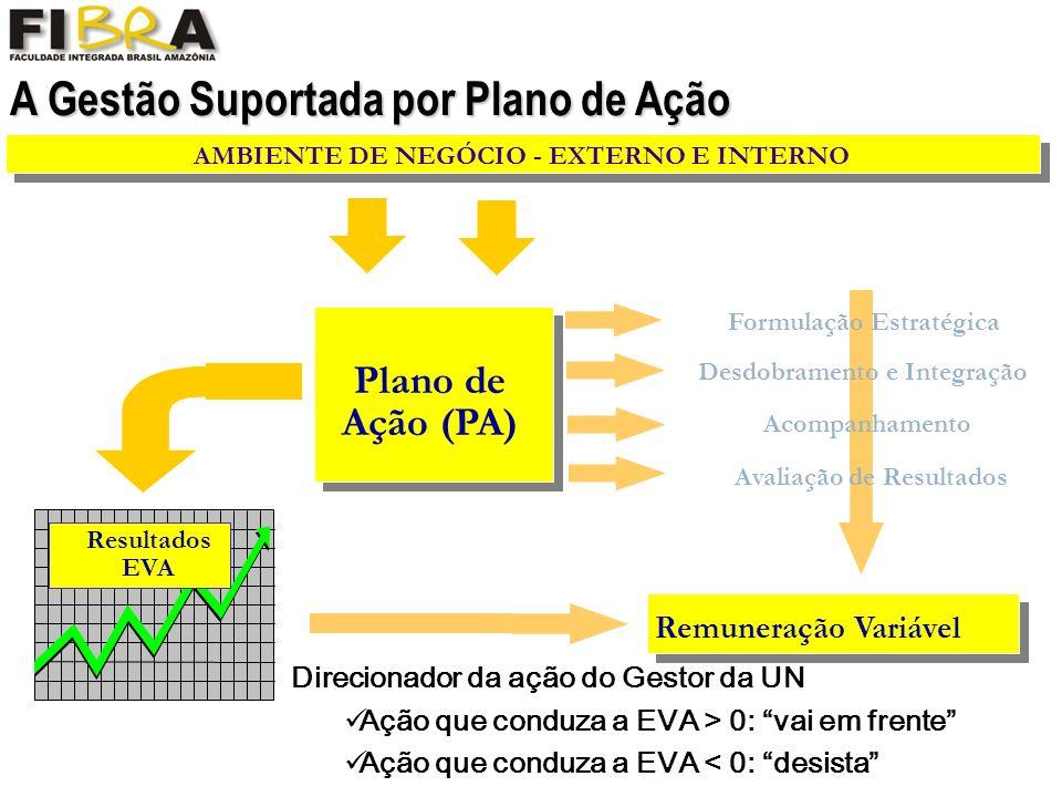 A Gestão Suportada por Plano de Ação Remuneração Variável Resultados EVA AMBIENTE DE NEGÓCIO - EXTERNO E INTERNO Plano de Ação (PA) Avaliação de Resultados Formulação Estratégica Desdobramento e Integração Acompanhamento Direcionador da ação do Gestor da UN Ação que conduza a EVA > 0: vai em frente Ação que conduza a EVA < 0: desista