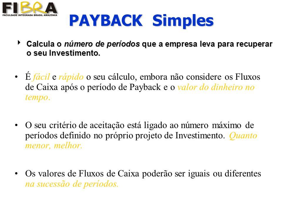 É fácil e rápido o seu cálculo, embora não considere os Fluxos de Caixa após o período de Payback e o valor do dinheiro no tempo.