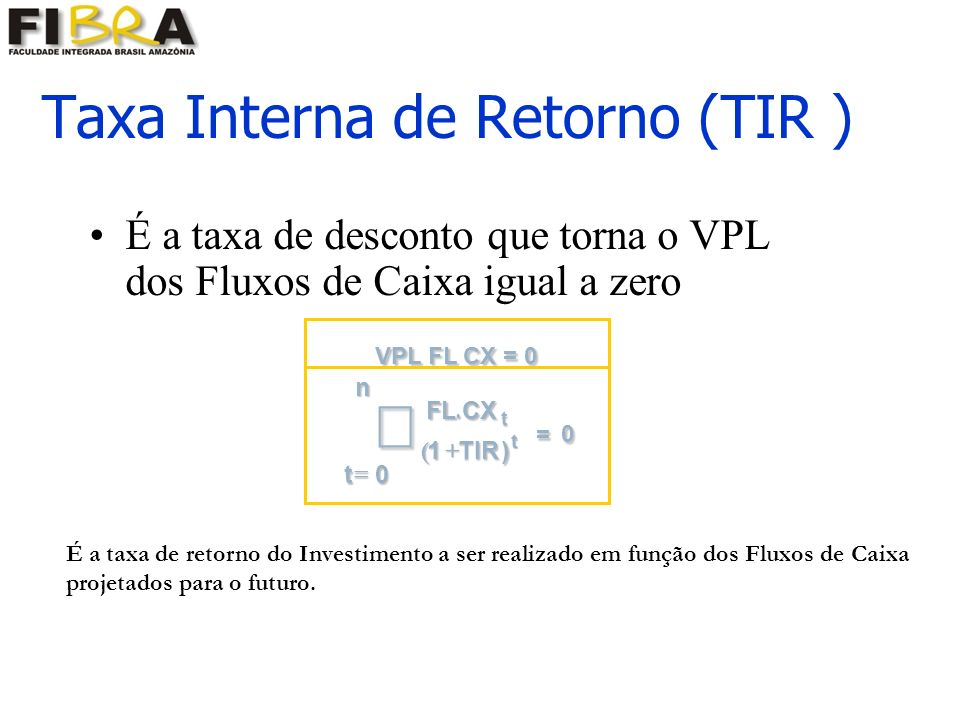 Taxa Interna de Retorno (TIR ) É a taxa de desconto que torna o VPL dos Fluxos de Caixa igual a zero É a taxa de retorno do Investimento a ser realizado em função dos Fluxos de Caixa projetados para o futuro.