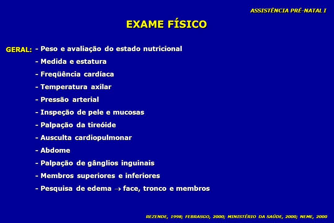 REZENDE, 1998; FEBRASGO, 2000; MINISTÉRIO DA SAÚDE, 2000; NEME, 2000 EXAME FÍSICO GERAL:GERAL: - Peso e avaliação do estado nutricional - Medida e est