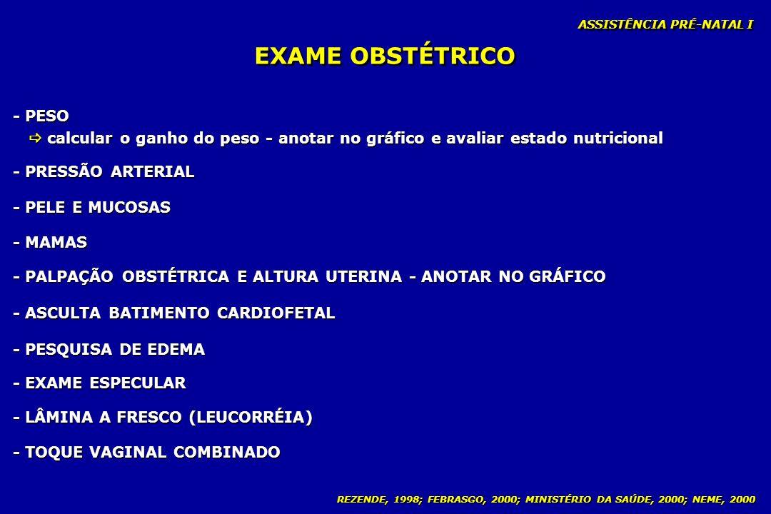 REZENDE, 1998; FEBRASGO, 2000; MINISTÉRIO DA SAÚDE, 2000; NEME, 2000 EXAME OBSTÉTRICO - PESO calcular o ganho do peso - anotar no gráfico e avaliar es