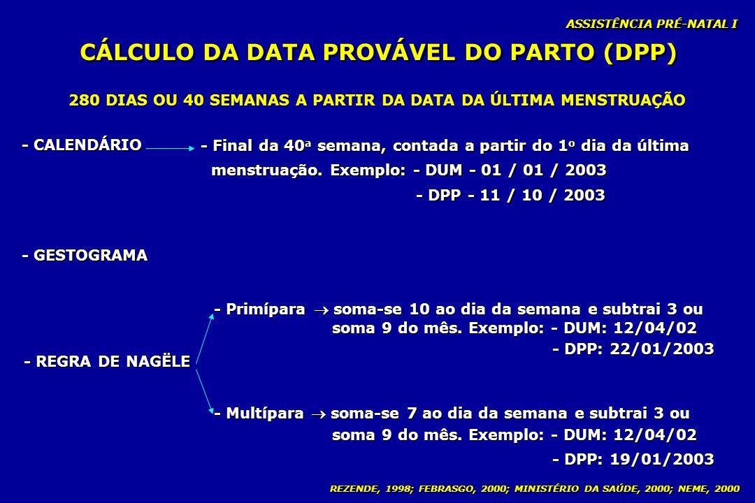 REZENDE, 1998; FEBRASGO, 2000; MINISTÉRIO DA SAÚDE, 2000; NEME, 2000 CÁLCULO DA DATA PROVÁVEL DO PARTO (DPP) - CALENDÁRIO - REGRA DE NAGËLE - GESTOGRA