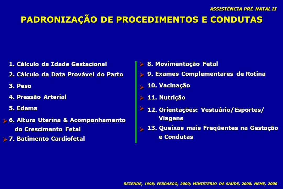 REZENDE, 1998; FEBRASGO, 2000; MINISTÉRIO DA SAÚDE, 2000; NEME, 2000 PADRONIZAÇÃO DE PROCEDIMENTOS E CONDUTAS ASSISTÊNCIA PRÉ-NATAL II 1. Cálculo da I