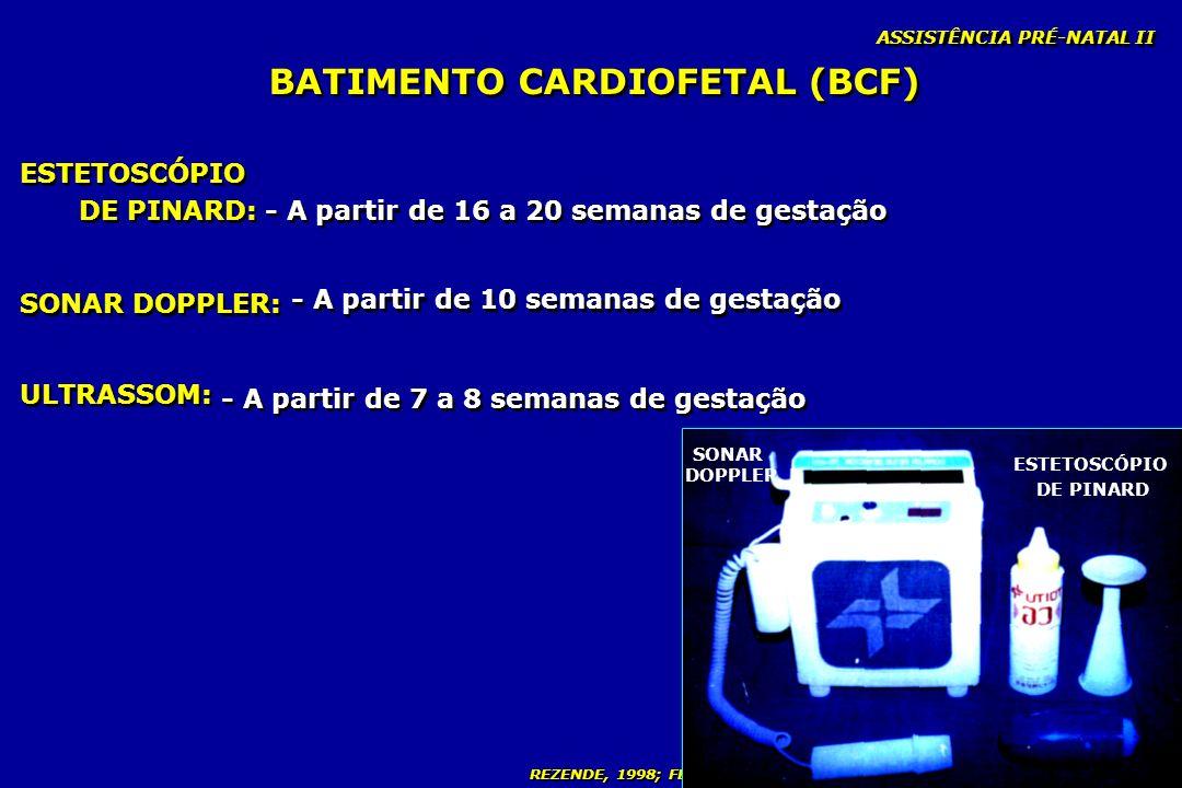 REZENDE, 1998; FEBRASGO, 2000; MINISTÉRIO DA SAÚDE, 2000; NEME, 2000 BATIMENTO CARDIOFETAL (BCF) ASSISTÊNCIA PRÉ-NATAL II ULTRASSOM: ESTETOSCÓPIO DE P