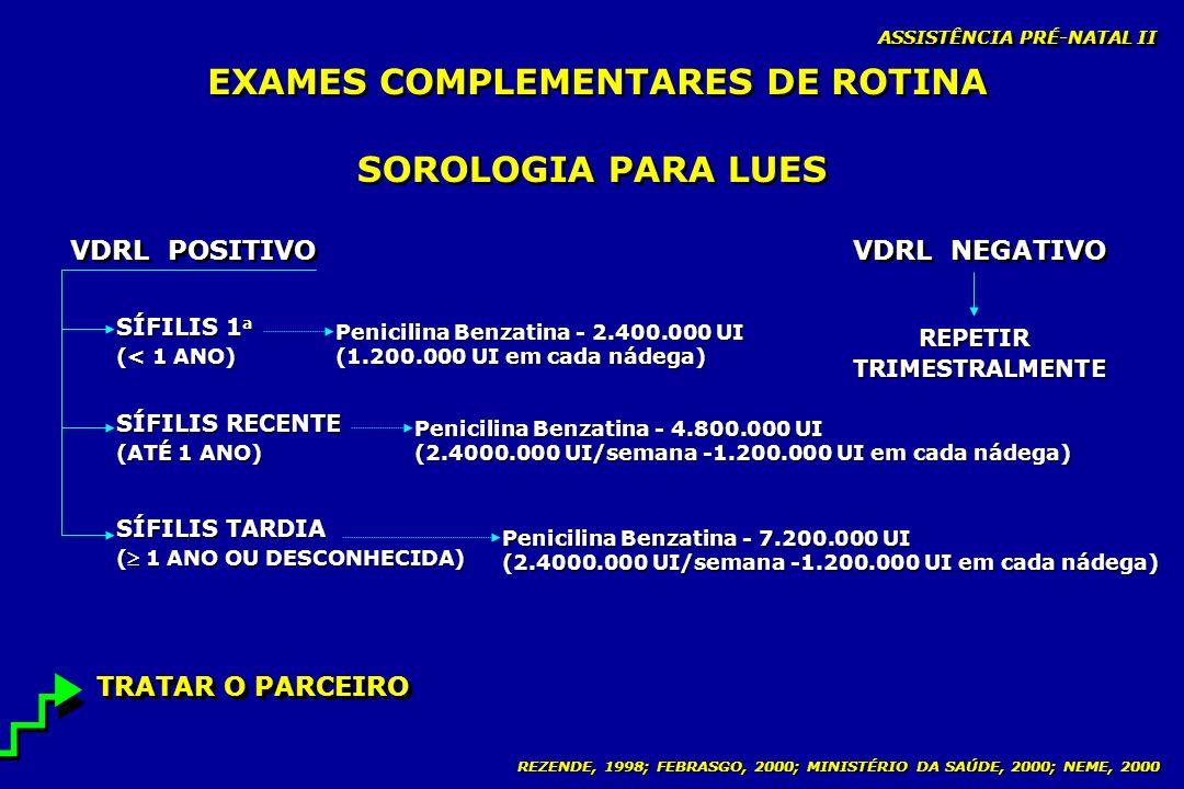 REZENDE, 1998; FEBRASGO, 2000; MINISTÉRIO DA SAÚDE, 2000; NEME, 2000 ASSISTÊNCIA PRÉ-NATAL II SOROLOGIA PARA LUES VDRL POSITIVO VDRL NEGATIVO REPETIR