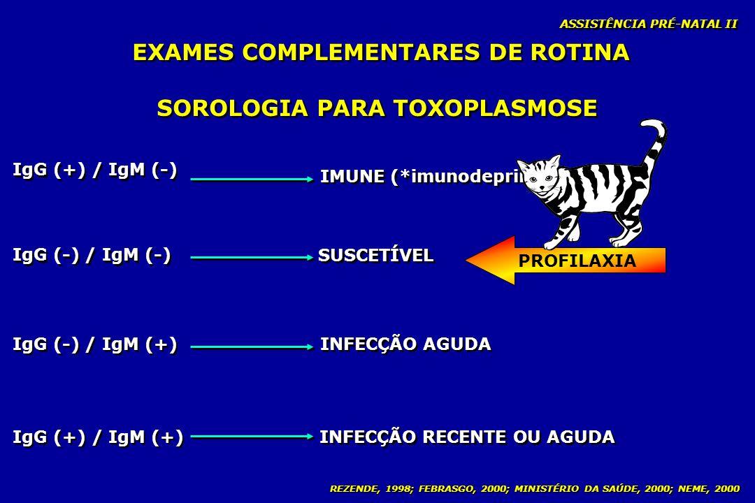 REZENDE, 1998; FEBRASGO, 2000; MINISTÉRIO DA SAÚDE, 2000; NEME, 2000 ASSISTÊNCIA PRÉ-NATAL II SOROLOGIA PARA TOXOPLASMOSE IgG (+) / IgM (-) IMUNE (*im