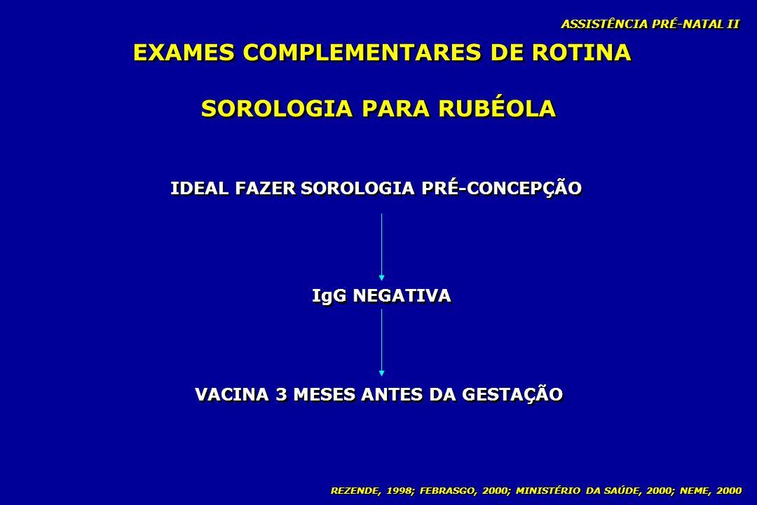 REZENDE, 1998; FEBRASGO, 2000; MINISTÉRIO DA SAÚDE, 2000; NEME, 2000 ASSISTÊNCIA PRÉ-NATAL II SOROLOGIA PARA RUBÉOLA IDEAL FAZER SOROLOGIA PRÉ-CONCEPÇ
