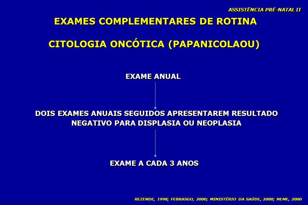 REZENDE, 1998; FEBRASGO, 2000; MINISTÉRIO DA SAÚDE, 2000; NEME, 2000 ASSISTÊNCIA PRÉ-NATAL II CITOLOGIA ONCÓTICA (PAPANICOLAOU) EXAME ANUAL EXAME A CA