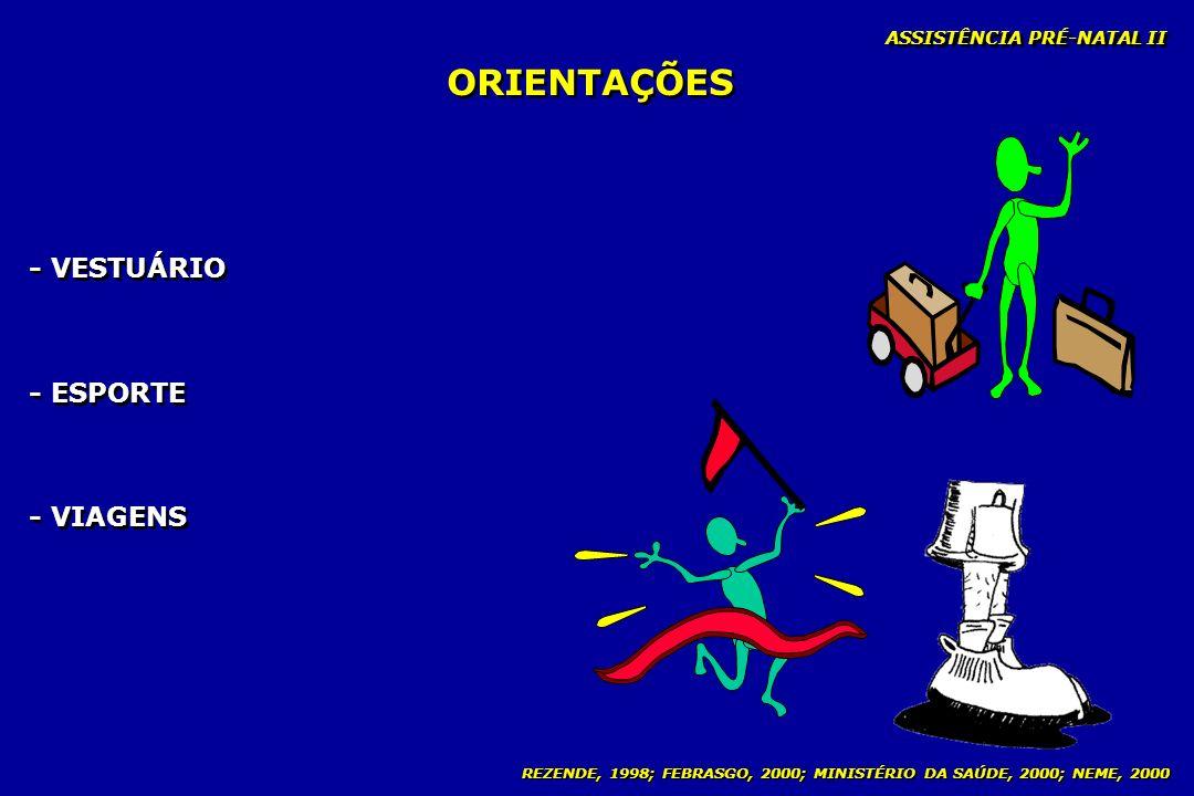 REZENDE, 1998; FEBRASGO, 2000; MINISTÉRIO DA SAÚDE, 2000; NEME, 2000 ORIENTAÇÕES ASSISTÊNCIA PRÉ-NATAL II - VESTUÁRIO - ESPORTE - VIAGENS - VESTUÁRIO