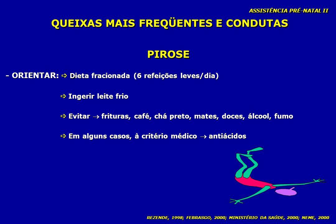 REZENDE, 1998; FEBRASGO, 2000; MINISTÉRIO DA SAÚDE, 2000; NEME, 2000 ASSISTÊNCIA PRÉ-NATAL II PIROSE D - ORIENTAR: Dieta fracionada (6 refeições leves