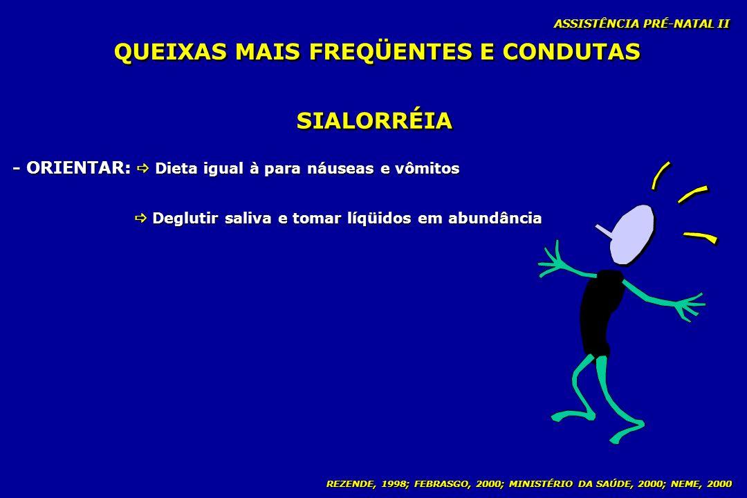 REZENDE, 1998; FEBRASGO, 2000; MINISTÉRIO DA SAÚDE, 2000; NEME, 2000 ASSISTÊNCIA PRÉ-NATAL II SIALORRÉIA - ORIENTAR: Dieta igual à para náuseas e vômi