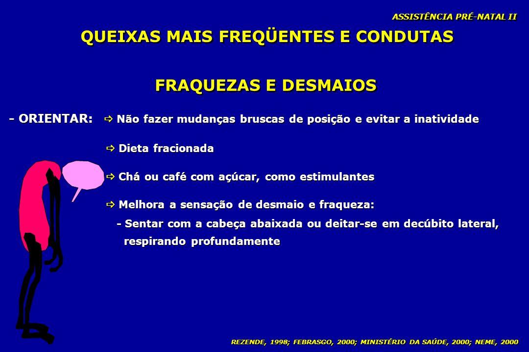 REZENDE, 1998; FEBRASGO, 2000; MINISTÉRIO DA SAÚDE, 2000; NEME, 2000 ASSISTÊNCIA PRÉ-NATAL II FRAQUEZAS E DESMAIOS - ORIENTAR: Não fazer mudanças brus