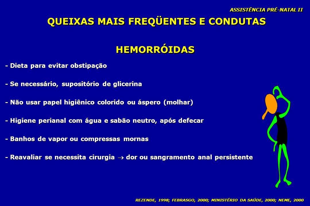 REZENDE, 1998; FEBRASGO, 2000; MINISTÉRIO DA SAÚDE, 2000; NEME, 2000 ASSISTÊNCIA PRÉ-NATAL II HEMORRÓIDAS - Dieta para evitar obstipação - Se necessár
