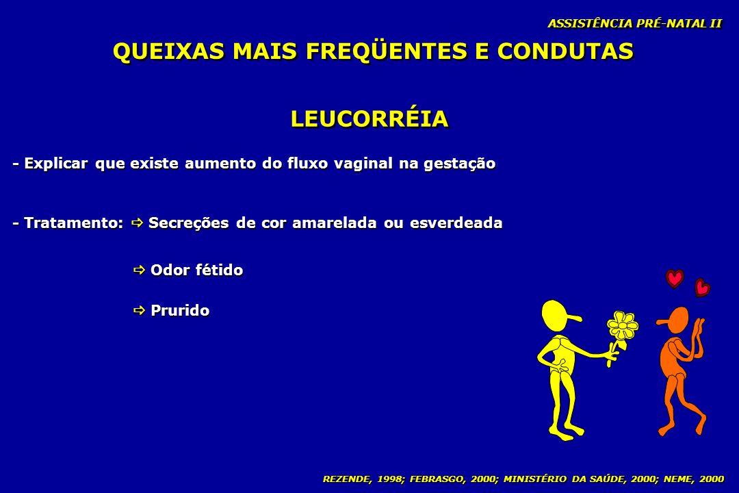 REZENDE, 1998; FEBRASGO, 2000; MINISTÉRIO DA SAÚDE, 2000; NEME, 2000 ASSISTÊNCIA PRÉ-NATAL II LEUCORRÉIA - Explicar que existe aumento do fluxo vagina
