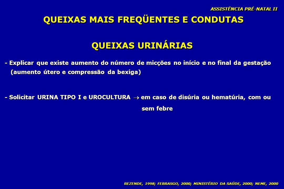 REZENDE, 1998; FEBRASGO, 2000; MINISTÉRIO DA SAÚDE, 2000; NEME, 2000 ASSISTÊNCIA PRÉ-NATAL II QUEIXAS URINÁRIAS - Explicar que existe aumento do númer