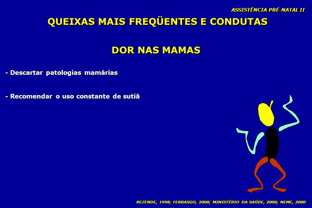REZENDE, 1998; FEBRASGO, 2000; MINISTÉRIO DA SAÚDE, 2000; NEME, 2000 ASSISTÊNCIA PRÉ-NATAL II DOR NAS MAMAS - Descartar patologias mamárias - Recomend