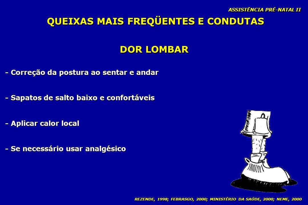 REZENDE, 1998; FEBRASGO, 2000; MINISTÉRIO DA SAÚDE, 2000; NEME, 2000 ASSISTÊNCIA PRÉ-NATAL II DOR LOMBAR - Correção da postura ao sentar e andar - Sap