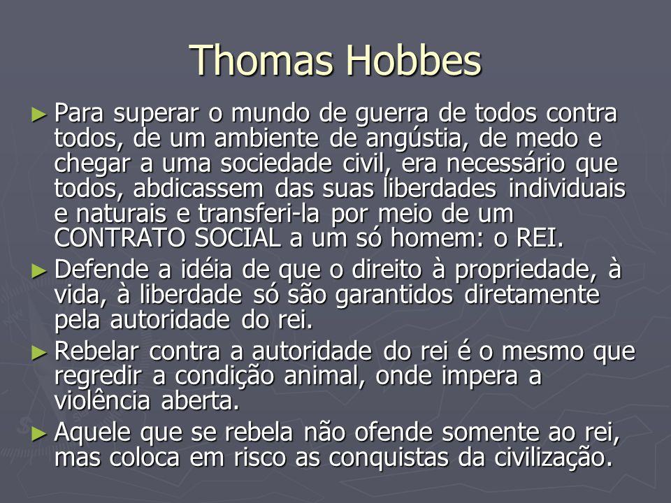 Thomas Hobbes Para superar o mundo de guerra de todos contra todos, de um ambiente de angústia, de medo e chegar a uma sociedade civil, era necessário