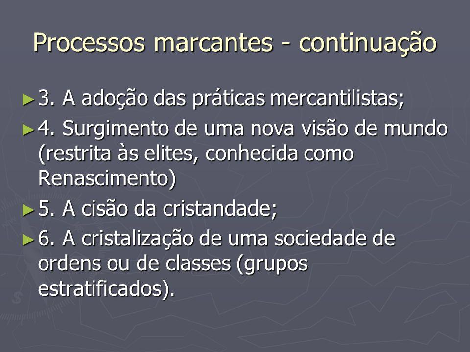 Processos marcantes - continuação 3. A adoção das práticas mercantilistas; 3. A adoção das práticas mercantilistas; 4. Surgimento de uma nova visão de
