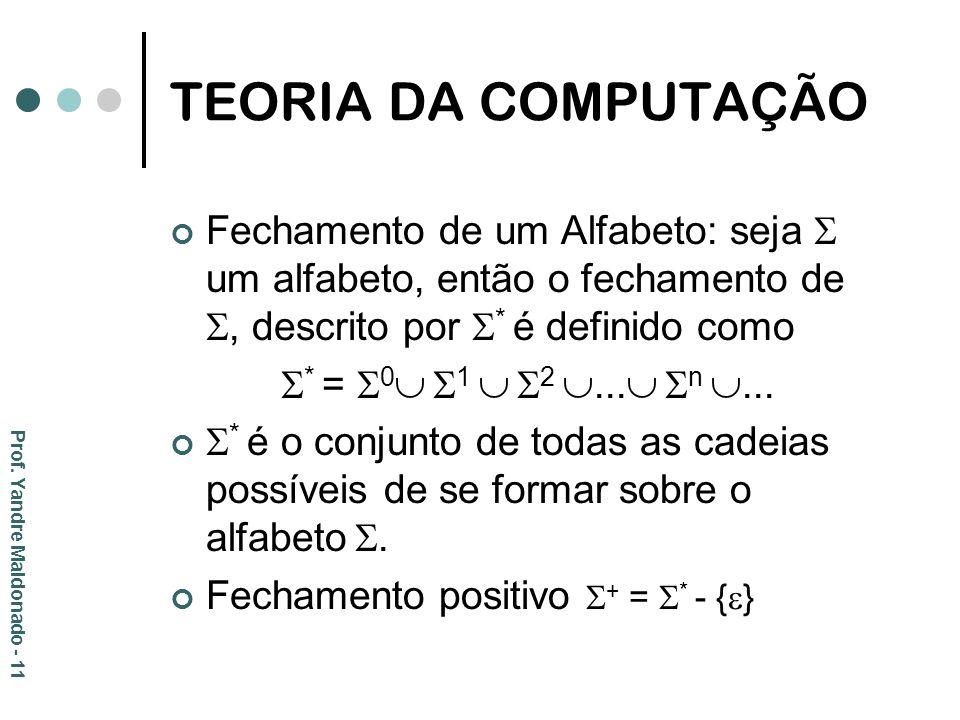 TEORIA DA COMPUTAÇÃO Fechamento de um Alfabeto: seja um alfabeto, então o fechamento de, descrito por * é definido como * = 0 1 2... n... * é o conjun
