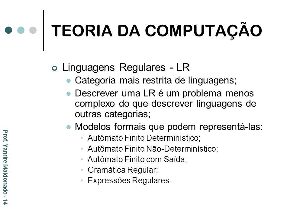 TEORIA DA COMPUTAÇÃO Linguagens Regulares - LR Categoria mais restrita de linguagens; Descrever uma LR é um problema menos complexo do que descrever l