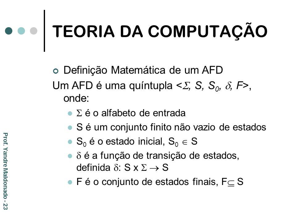 TEORIA DA COMPUTAÇÃO Definição Matemática de um AFD Um AFD é uma quíntupla, onde: é o alfabeto de entrada S é um conjunto finito não vazio de estados