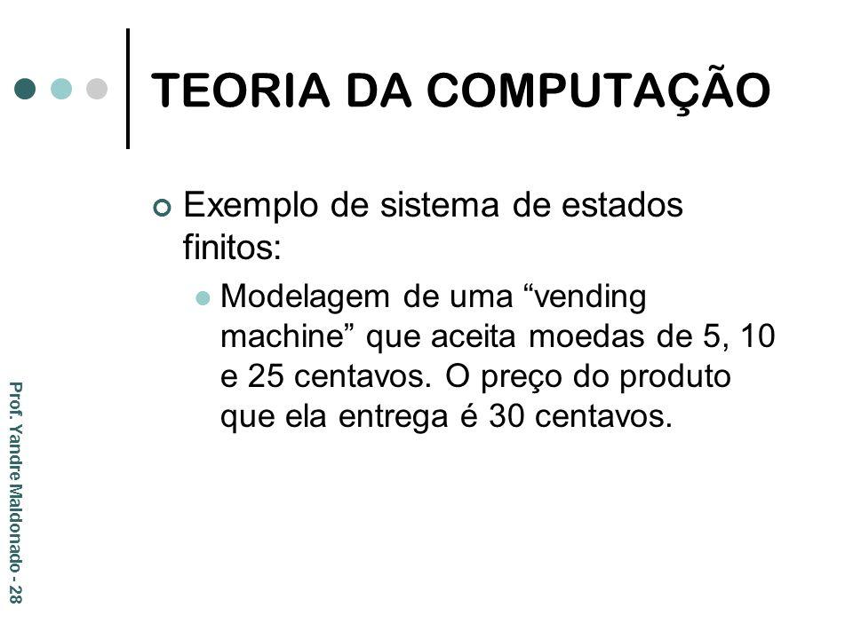 TEORIA DA COMPUTAÇÃO Exemplo de sistema de estados finitos: Modelagem de uma vending machine que aceita moedas de 5, 10 e 25 centavos. O preço do prod