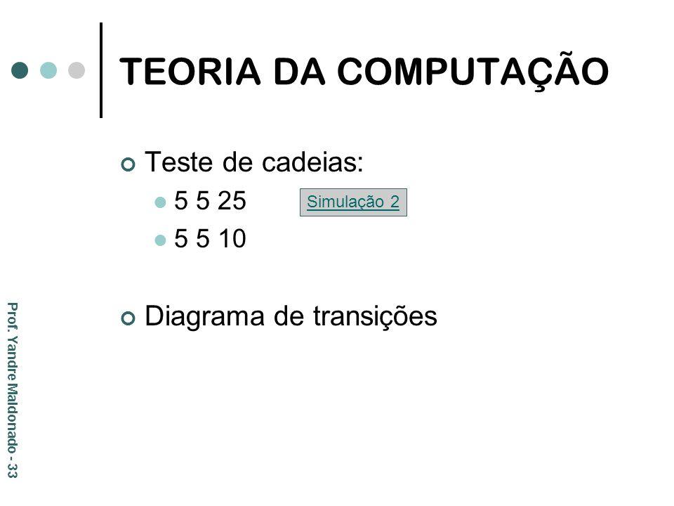 TEORIA DA COMPUTAÇÃO Teste de cadeias: 5 5 25 5 5 10 Diagrama de transições Simulação 2 Prof. Yandre Maldonado - 33