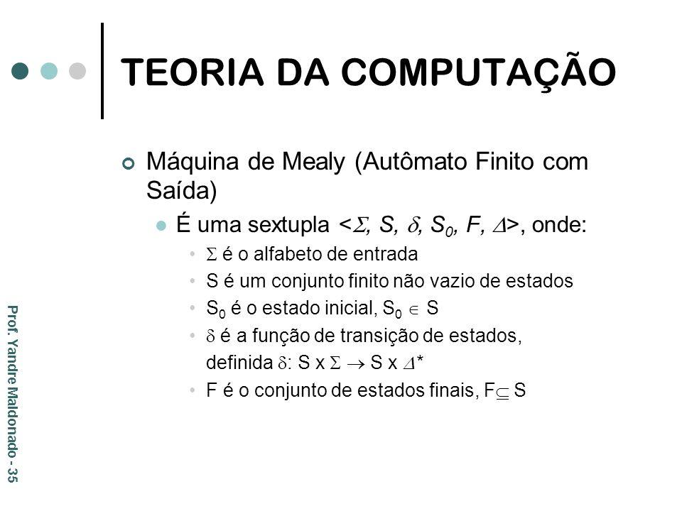 TEORIA DA COMPUTAÇÃO Máquina de Mealy (Autômato Finito com Saída) É uma sextupla, onde: é o alfabeto de entrada S é um conjunto finito não vazio de es