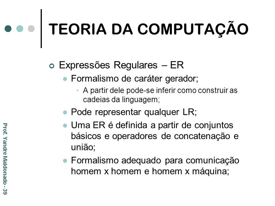 TEORIA DA COMPUTAÇÃO Expressões Regulares – ER Formalismo de caráter gerador; A partir dele pode-se inferir como construir as cadeias da linguagem; Po