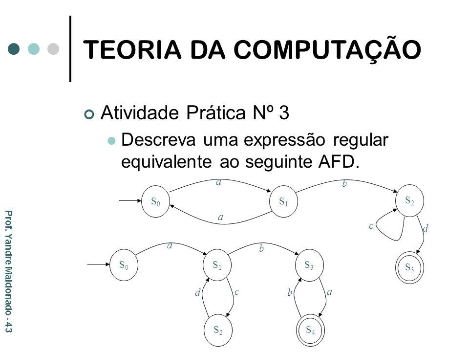 TEORIA DA COMPUTAÇÃO Atividade Prática Nº 3 Descreva uma expressão regular equivalente ao seguinte AFD. Prof. Yandre Maldonado - 43 S0S0 S2S2 S1S1 b a