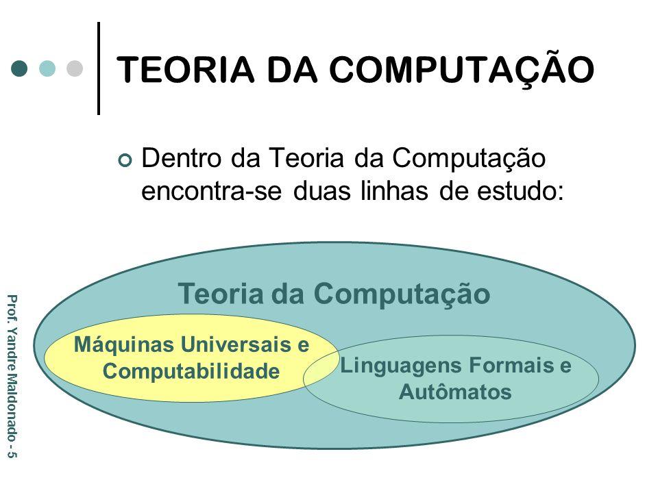 TEORIA DA COMPUTAÇÃO Dentro da Teoria da Computação encontra-se duas linhas de estudo: Teoria da Computação Máquinas Universais e Computabilidade Ling