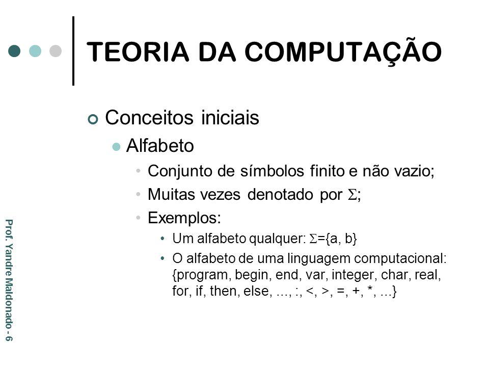 TEORIA DA COMPUTAÇÃO Conceitos iniciais Alfabeto Conjunto de símbolos finito e não vazio; Muitas vezes denotado por ; Exemplos: Um alfabeto qualquer:
