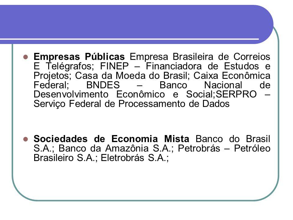 Empresas Públicas Empresa Brasileira de Correios E Telégrafos; FINEP – Financiadora de Estudos e Projetos; Casa da Moeda do Brasil; Caixa Econômica Fe