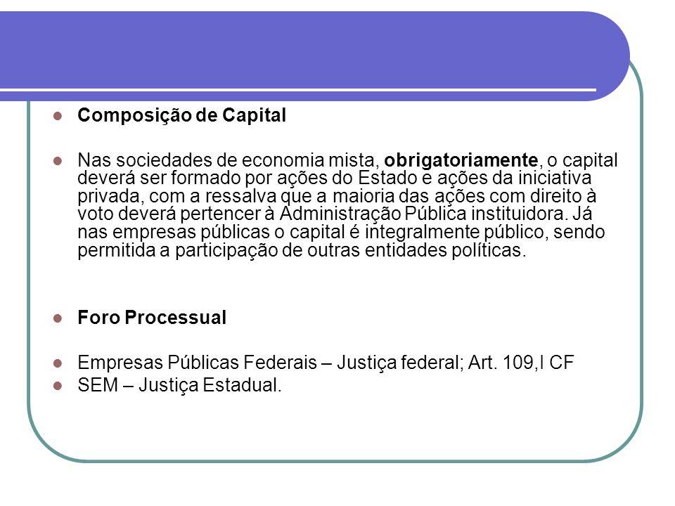 Composição de Capital Nas sociedades de economia mista, obrigatoriamente, o capital deverá ser formado por ações do Estado e ações da iniciativa priva