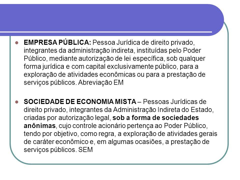 EMPRESA PÚBLICA: Pessoa Jurídica de direito privado, integrantes da administração indireta, instituídas pelo Poder Público, mediante autorização de le