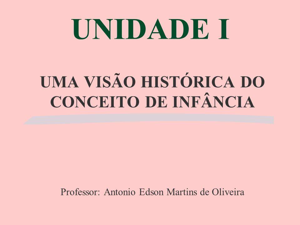 UNIDADE I UMA VISÃO HISTÓRICA DO CONCEITO DE INFÂNCIA Professor: Antonio Edson Martins de Oliveira