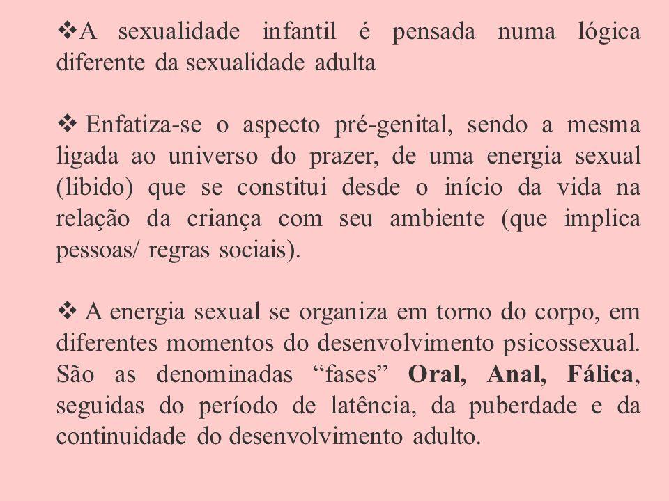 A sexualidade infantil é pensada numa lógica diferente da sexualidade adulta Enfatiza-se o aspecto pré-genital, sendo a mesma ligada ao universo do pr