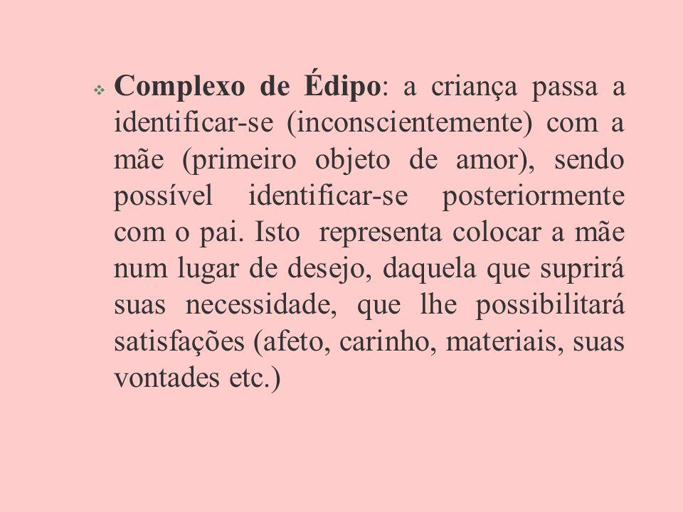 Complexo de Édipo: a criança passa a identificar-se (inconscientemente) com a mãe (primeiro objeto de amor), sendo possível identificar-se posteriorme
