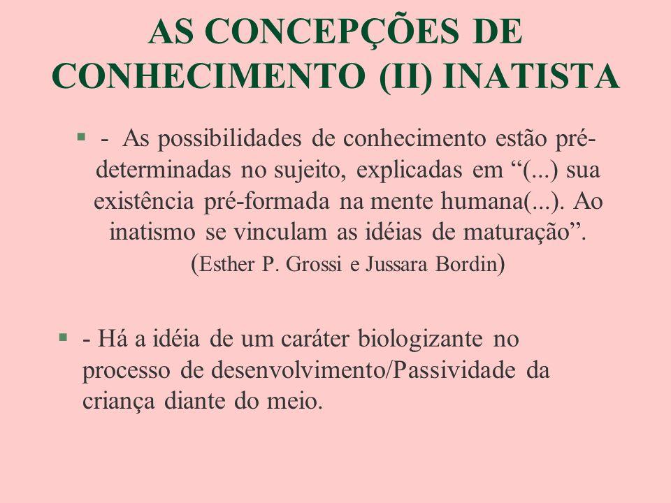 AS CONCEPÇÕES DE CONHECIMENTO EMPIRISTA (III) §Todo conhecimento humano tem origem a partir da experiência §- Rejeita-se a idéia de causalidade inata, o indivíduo é efeito de suas experiências/produto das determinações externas §- O indivíduo é passivo diante do meio §No ambientalismo /Empirismo psicológico (...) faz(se) uma profissão de fé igualitária: todos são iguais e todos podem aprender.