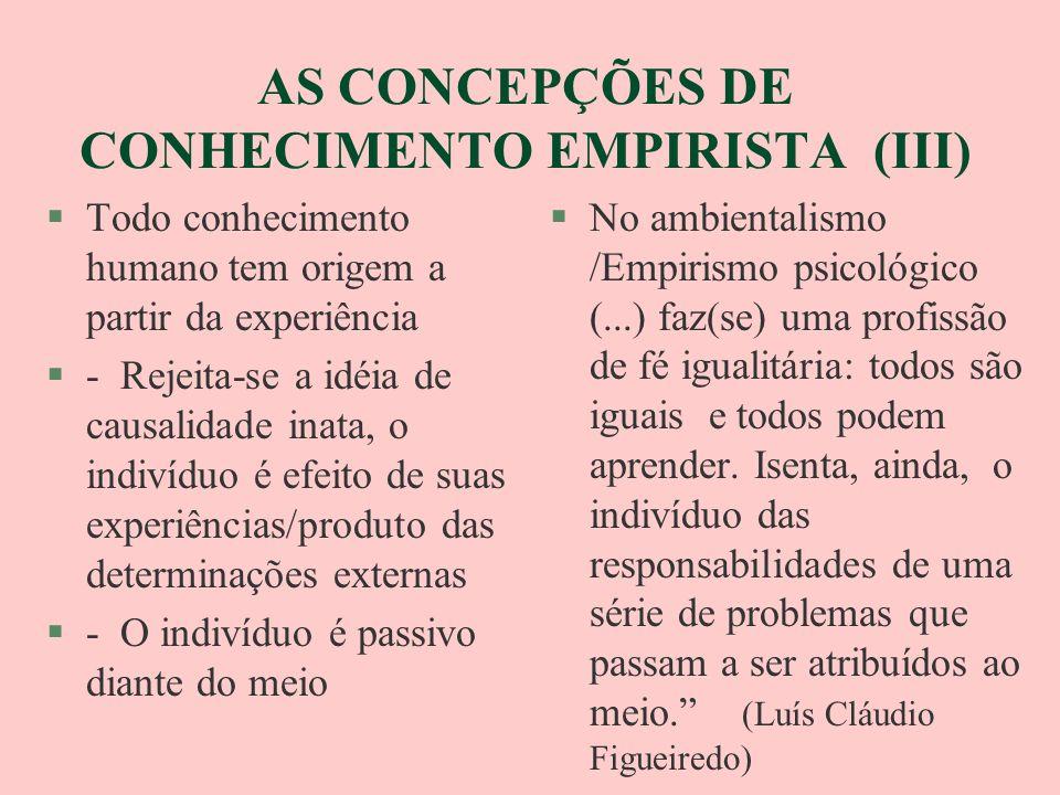 AS CONCEPÇÕES DE CONHECIMENTO EMPIRISTA (III) §Todo conhecimento humano tem origem a partir da experiência §- Rejeita-se a idéia de causalidade inata,