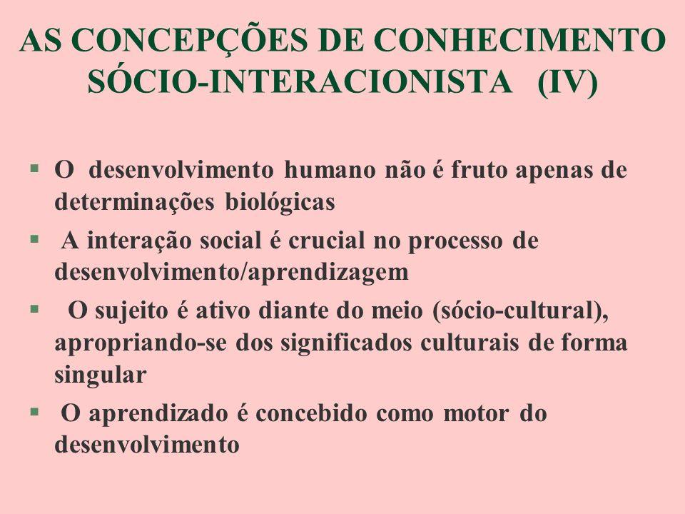 AS CONCEPÇÕES DE CONHECIMENTO (V) §CONSTRUTIVISTA/INTERACIONISTA §O desenvolvimento humano é um processo contínuo de trocas (recíprocas) entre sujeito e meio (físico, social e cultural) §- O desenvolvimento não é inato §- Há um tendência constante no sujeito de procurar explicar/compreender o que ocorre em seu meio, sendo essa ação desencadeada sempre por uma necessidade §- O ser humano é ativo em seu meio, passando por um processo de adaptação contínuo