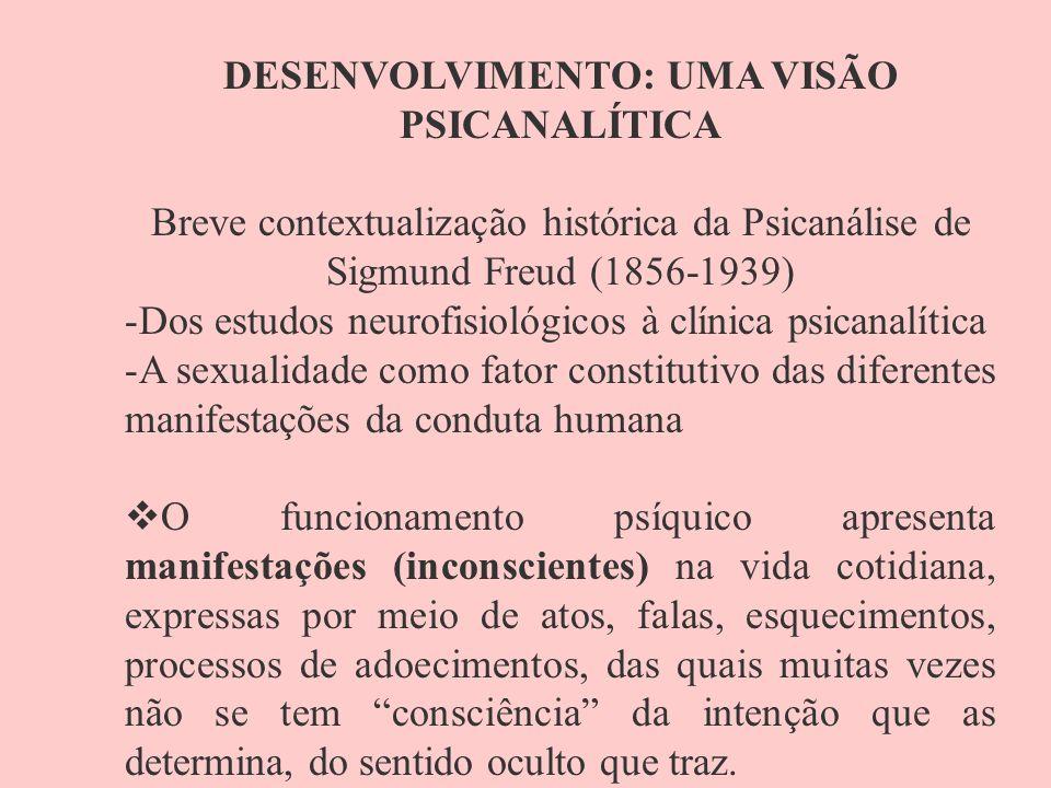 DESENVOLVIMENTO: UMA VISÃO PSICANALÍTICA Breve contextualização histórica da Psicanálise de Sigmund Freud (1856-1939) -Dos estudos neurofisiológicos à