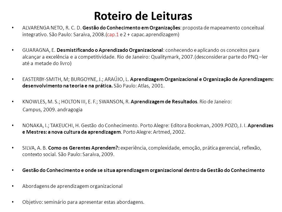 Roteiro de Leituras ALVARENGA NETO, R. C. D. Gestão do Conhecimento em Organizações: proposta de mapeamento conceitual integrativo. São Paulo: Saraiva