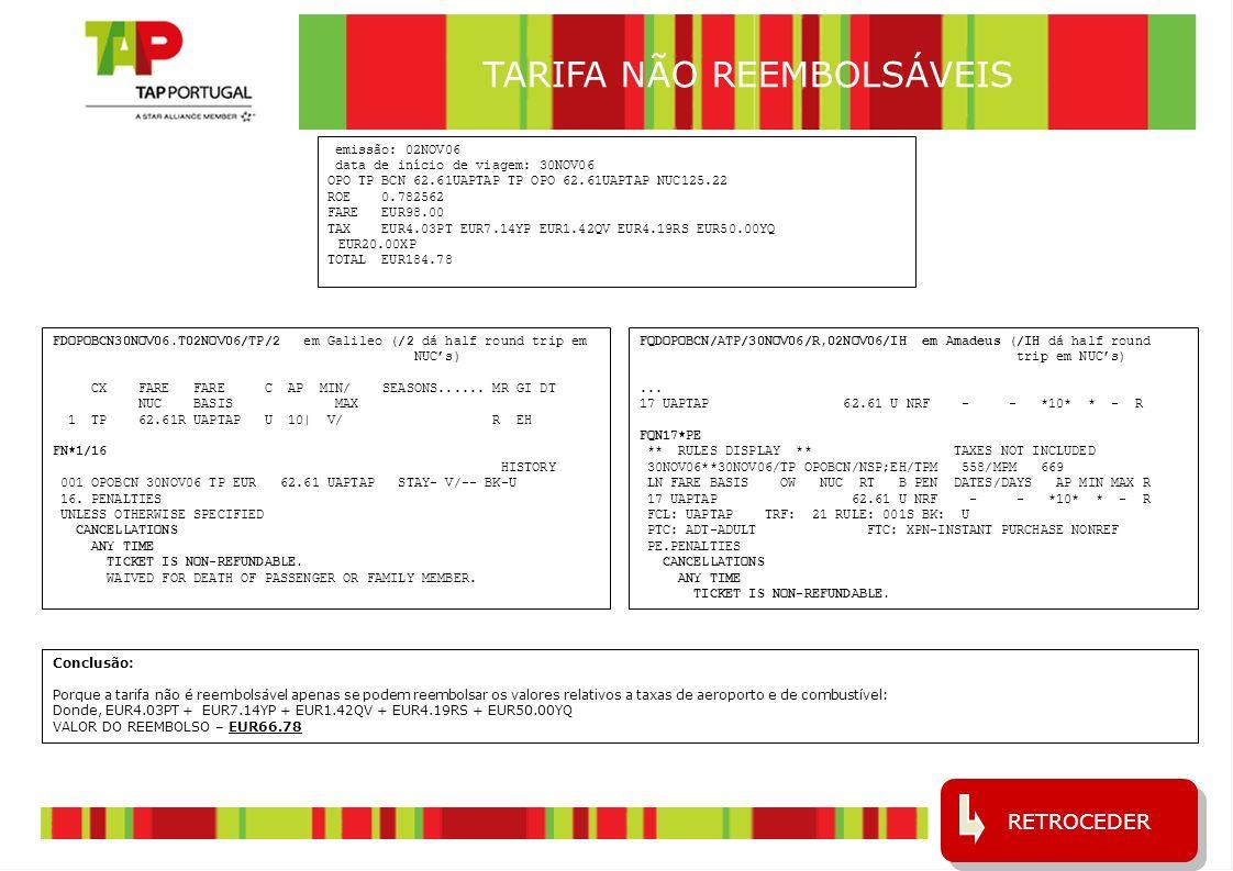 8 COMBINAÇÃO DE TARIFAS 1 (em Galileu) emissão: 25AUG06 data de início de viagem: 29AUG06 SSA TP LIS Q6.00M1862.50DRTTAP2 TP RIO Q6.00 649.00HHPX3M2 NUC2523.50END ROE1.0 XT 28.04BR59.20YQ56.00XP Fare USD2524.00 Equiv EUR1967.00 Taxas EUR5.71PT EUR12.17YP EUR143.24XT Total EUR2128.12 RETROCEDER EM AMADEUS Conclusão: A tarifa DRTTAP2 não tem penalidade e a HHPX3M2 tem USD120 de penalidade que, ao câmbio actual, são EUR94.00.